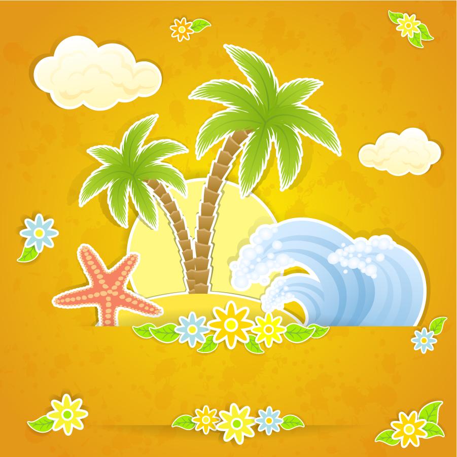 椰子の木と波の切り絵 Beautiful summer card イラスト素材