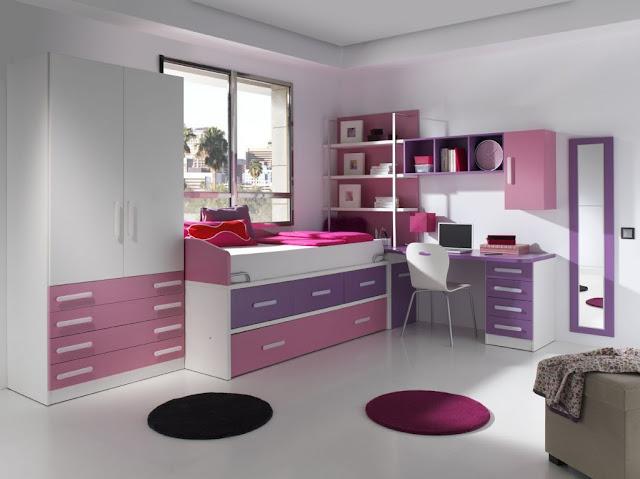 Dormitorio juvenil con escritorio integrado dormitorio - Cortinas para habitacion juvenil ...
