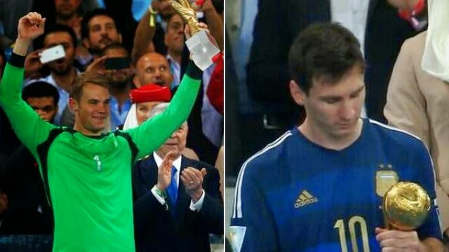 ميسي افضل لاعب في كاس العالم 2014 و مانويل نوير افضل حارس