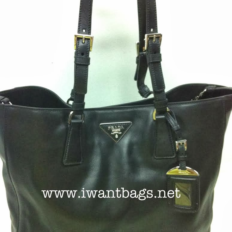 Prada BR5033 Soft Calf Tote Bag-Black