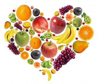 a heart made out of healthy fruits