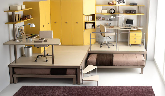 Creative-design-yellow-bunk-beds-for-teenagers