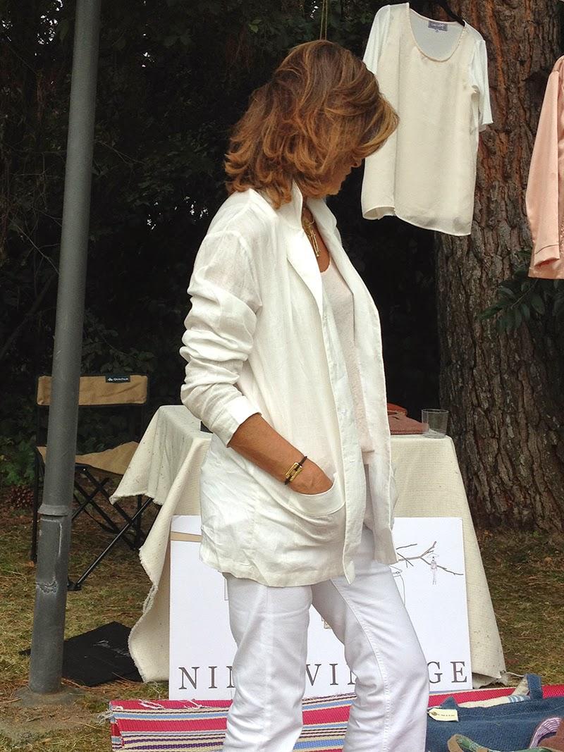 Blusa de Lino Blanco tipo Pyjama by Ninasvintage