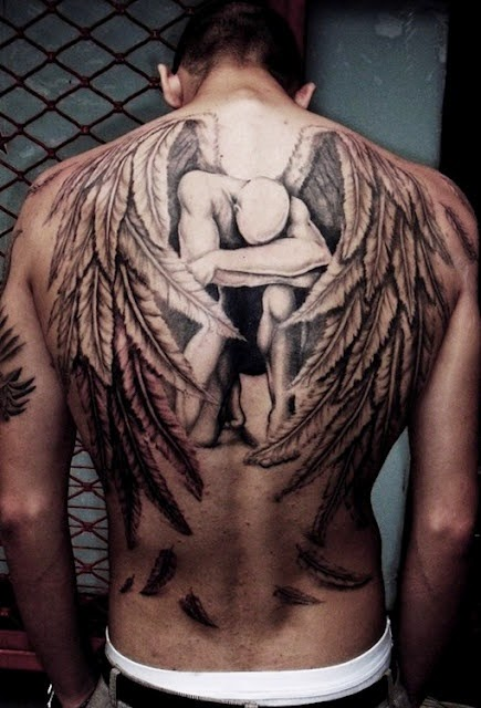Amazing. I usually don't go for full back tats but this is so amazing, and so deep and dark and I just love it.