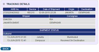 gambar detail pengiriman dari jne Detail pengiriman jersey a/n Ria