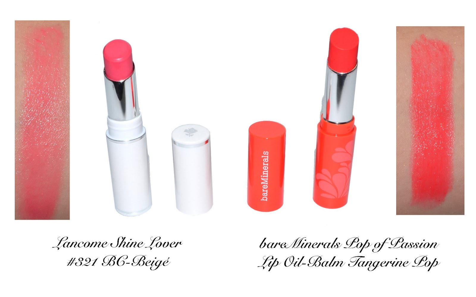 321 shine reviews - Swatches Lancome Shine Lover 321 Bc Beige Bareminerals Pop Of Passion Tangerine Pop