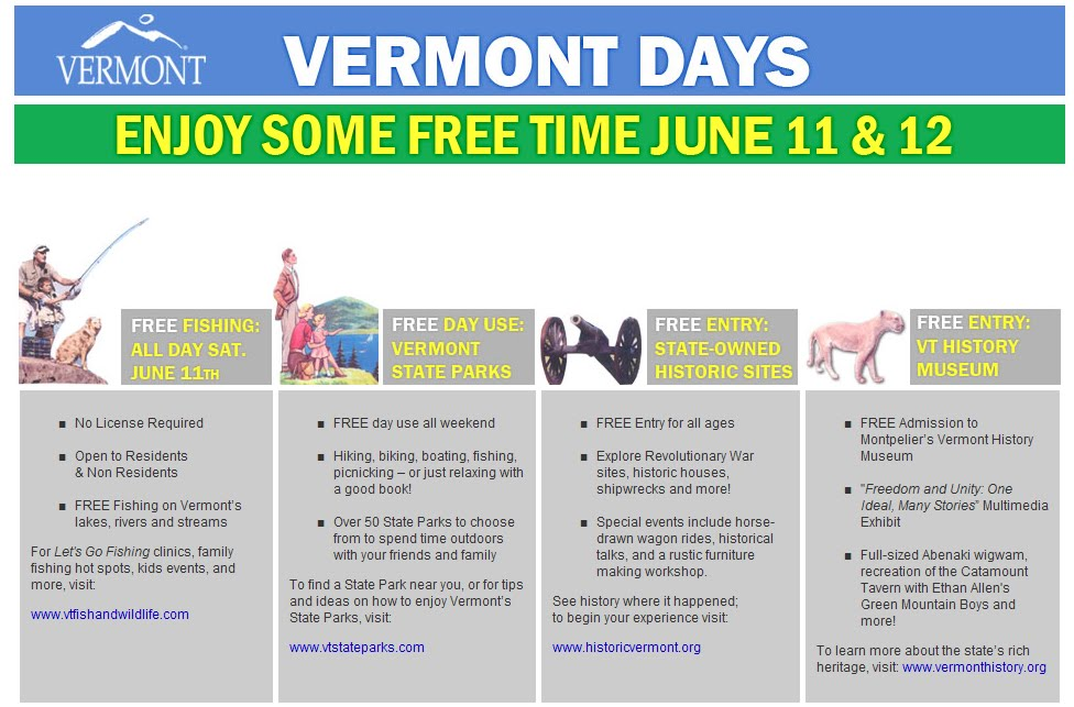 10engines vermont days free fishing tomorrow for Is tomorrow a good fishing day