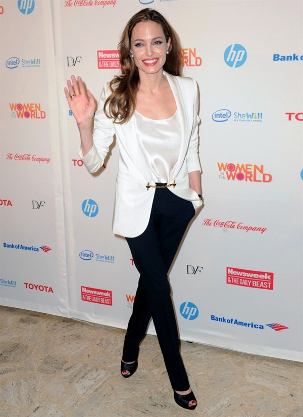 Lady in White: Angelina Jolie in Gucci S/S12 at Women's World Summit