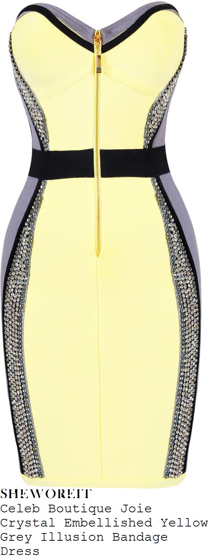 jasmin-walia-yellow-strapless-crystal-dress