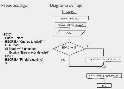 Toma de decisiones simpledoble y multiple lenguaje de programacion en donde se pide la edad del usuario si es mayor de edad debe aparecer un mensaje indicndolo expresarlo en pseudocdigo y diagrama de flujos ccuart Image collections