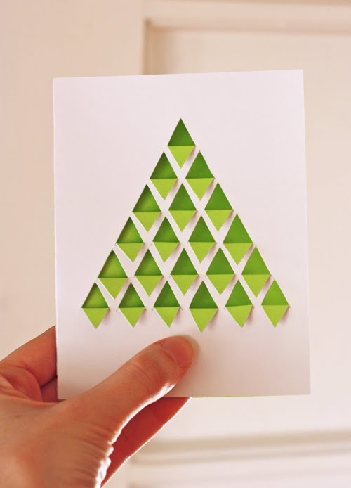diy geometric christmas tree card how about orange - Christmas Tree Card