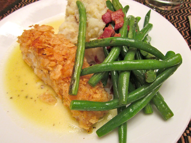 Potato chip crusted halibut | me likey food