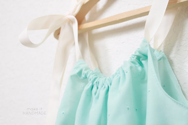 Sewn eyelet pillow case dress. So easy to make-- no hemming required!