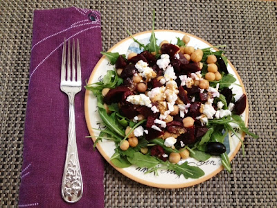 beet salad with chickpeas, feta, olives and cumin vinaigrette