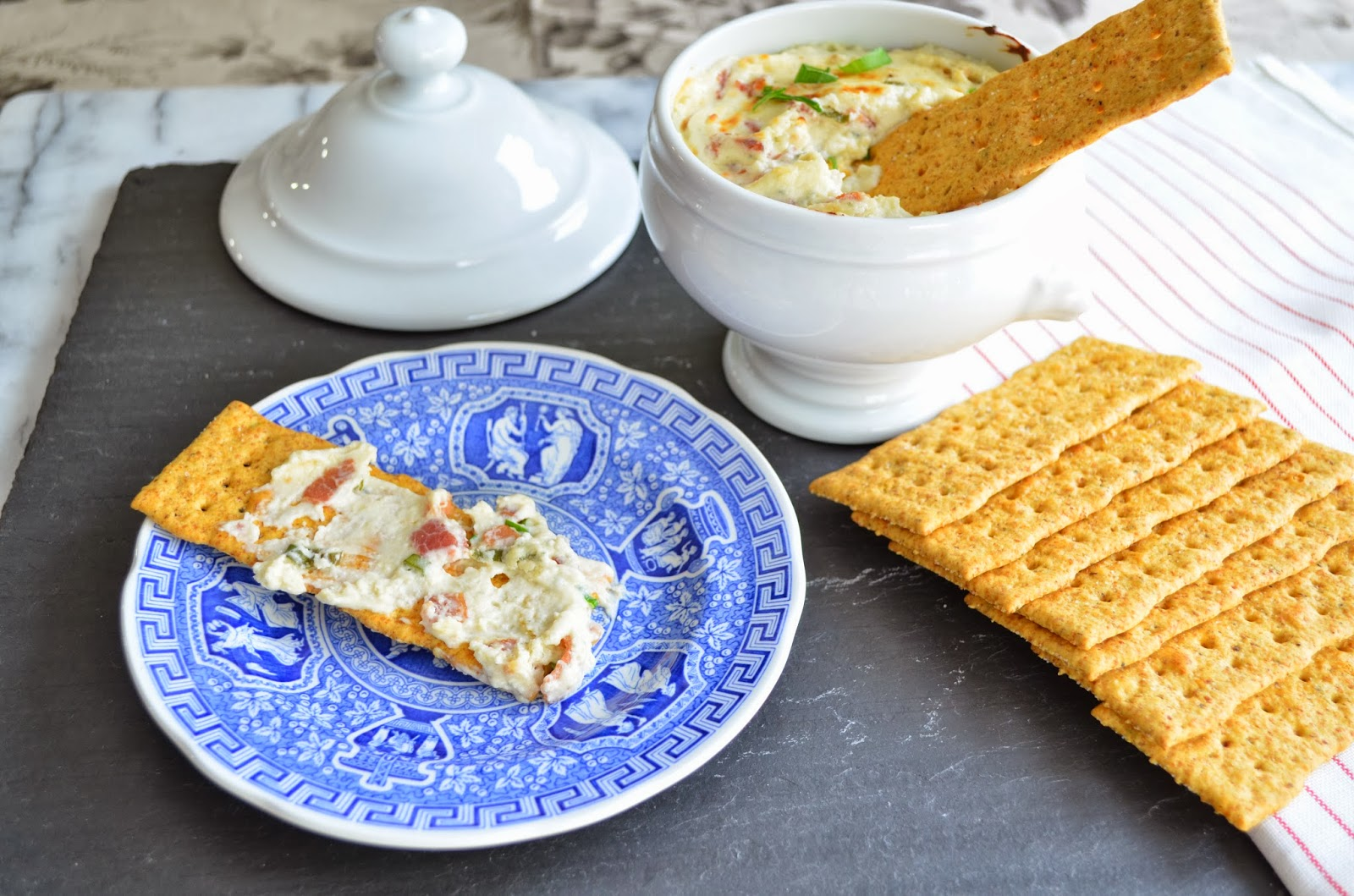 Warm blue cheese and bacon dip.