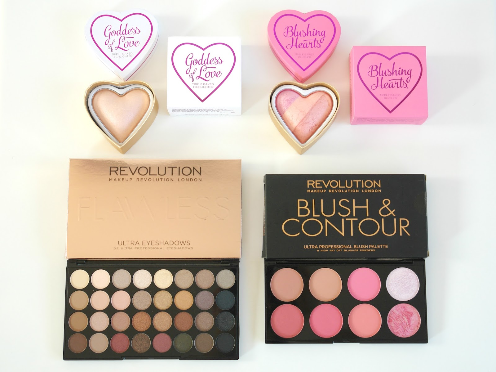 Makeup Revloution haul, Makeup Revolution, beauty, make up, eye shadows, blusher, palette, bronzer, highlighter, UK blogger, top beauty blog, Ultra 32 Shade Eyeshadow Palette FLAWLESS,  Ultra Blush and Contour Palette in Sugar and Spice, I ♡ Makeup Blushing Heart in Candy Queen of Hearts,  I ♡ Makeup Goddess of Love Highlighter