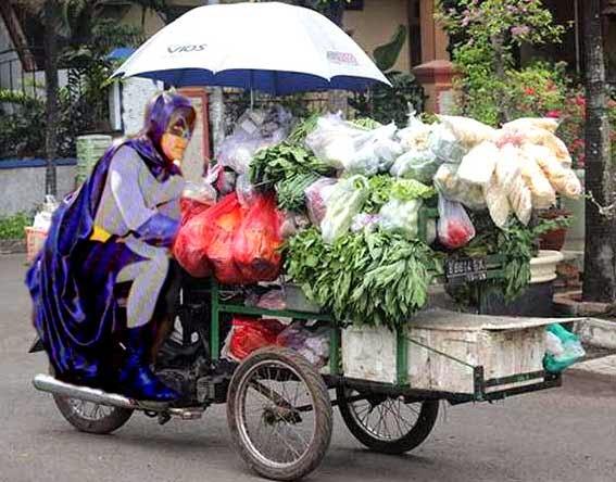 Gambar lucu Batman dagang sayur