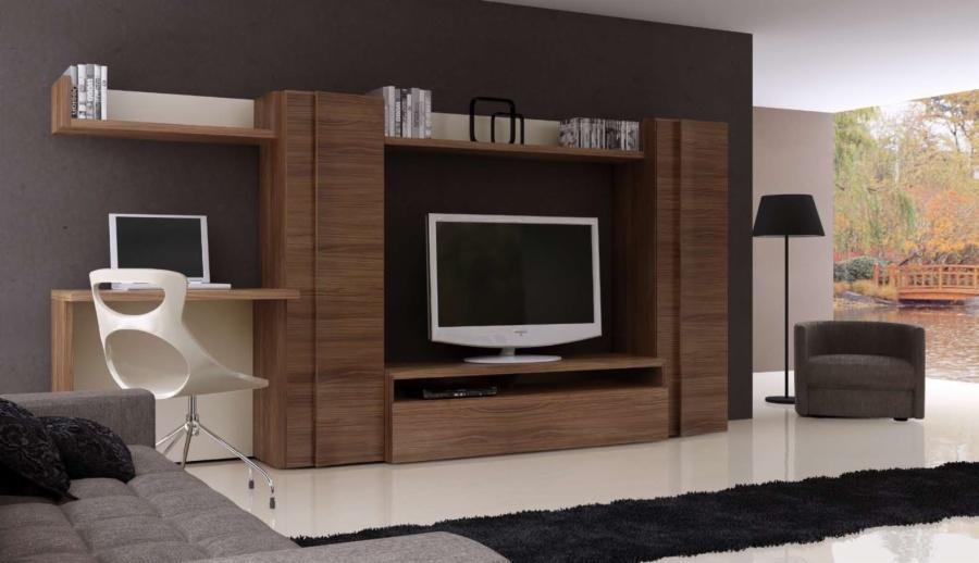 Mueble de salon compacto combinado con acabado plata el for Muebles salon madrid