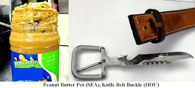 Pot in peanut butter and a belt knife.