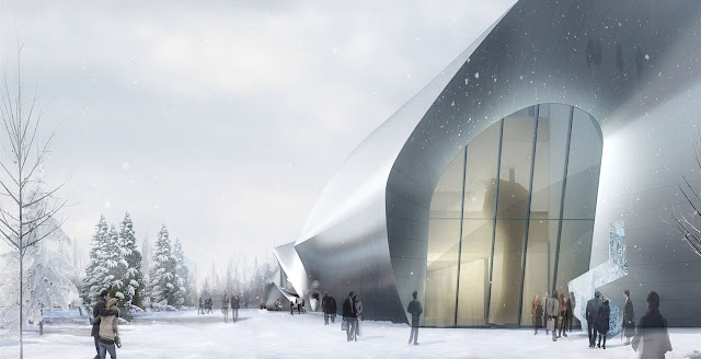 Rendering of modern museum entrance as seen from the walkway in winter landscape