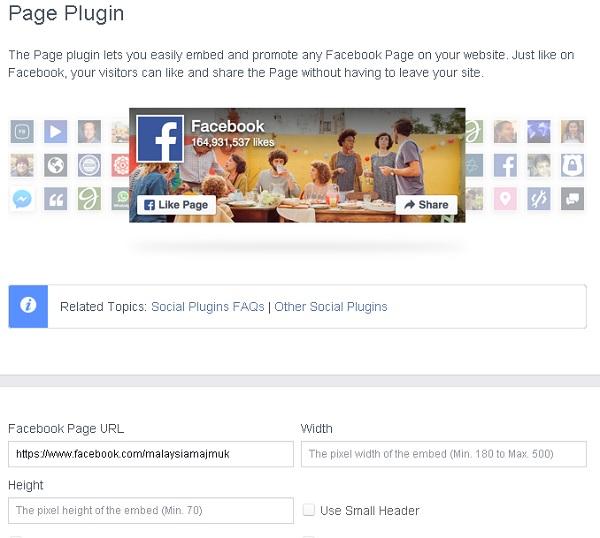Facebook Page untuk blog anda.