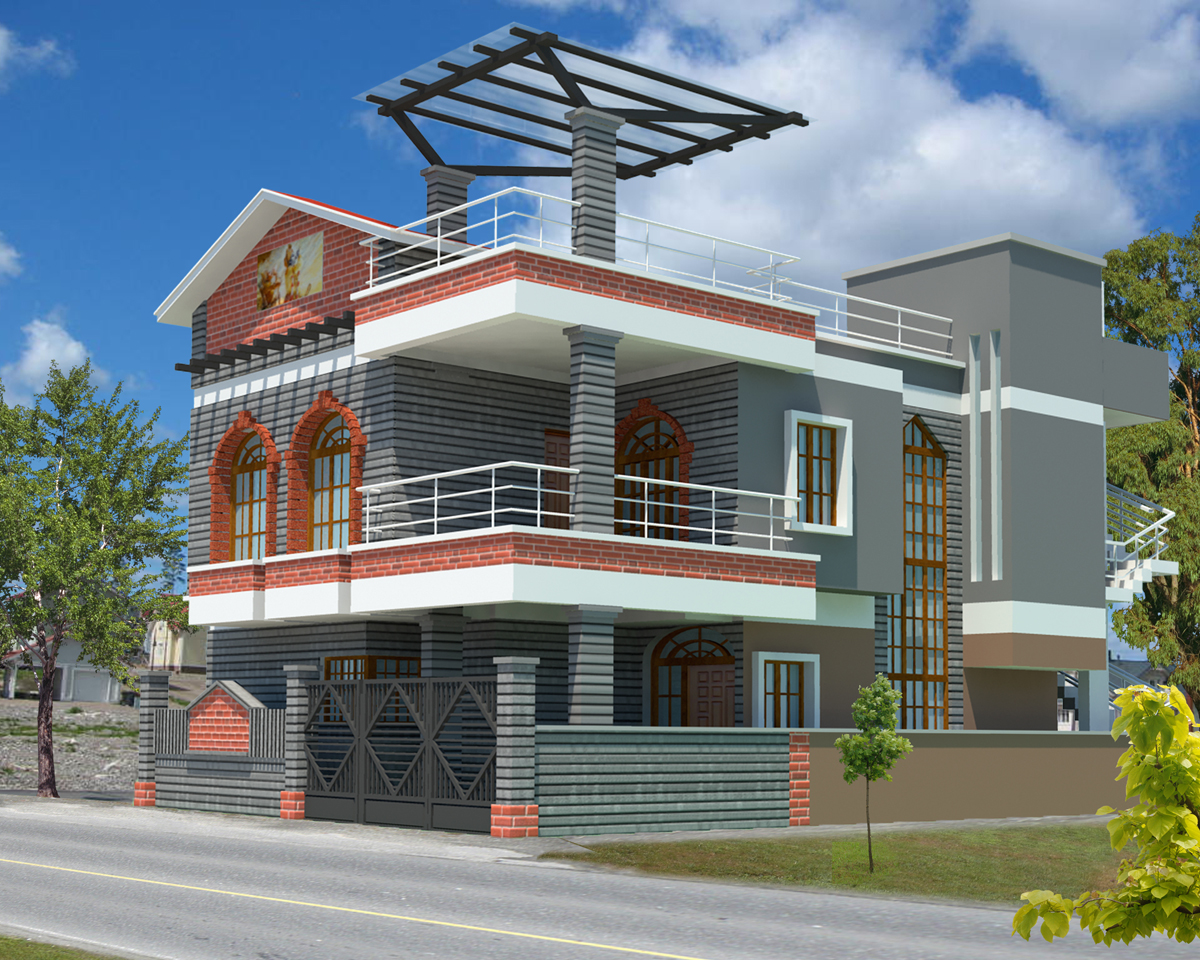 3d house plan with the implementation of 3d max modern for Exterior 3d design