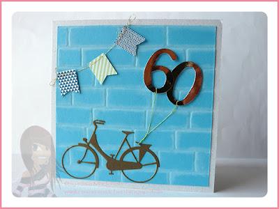 Stampin' Up! Rosa Mädchen Geburtstagskarte zum 60. mit Fahrrad und Prägefolder Ziegel