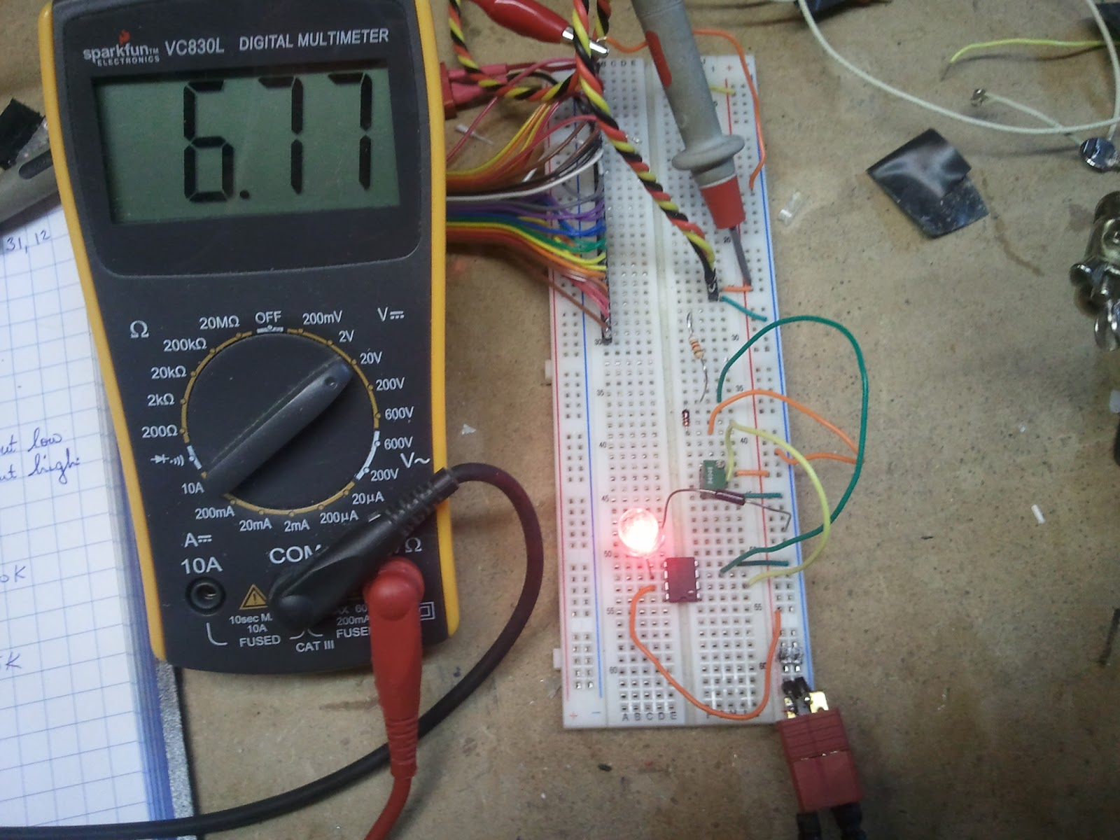 One Half Rho V Squared Low Battery Warning Circuit For 12 Volt Using An Lm741 Opamp The Light Will Stay Off Until Voltage Drops Below 7v Point In Image You Can See Input Is 677v