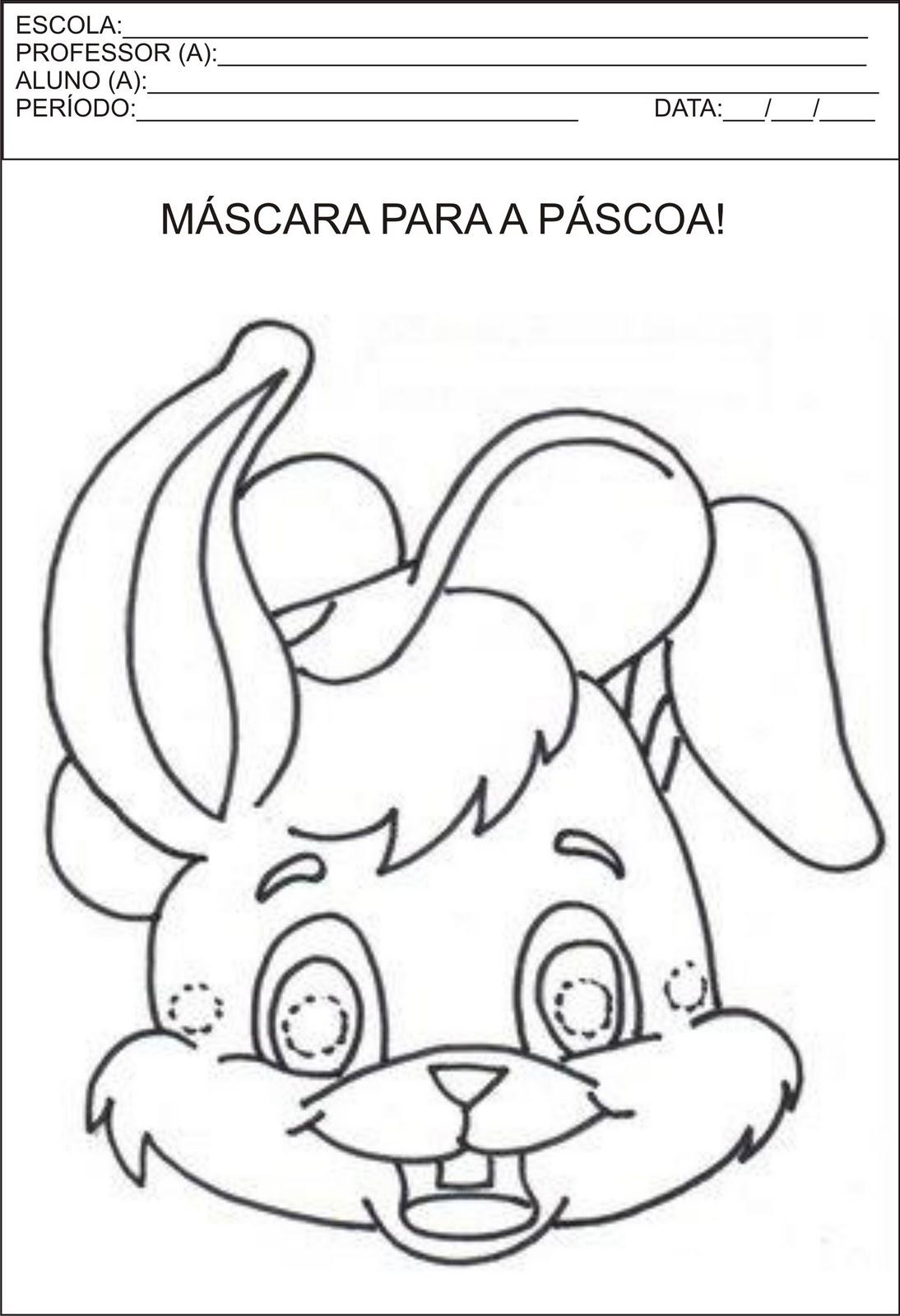 máscara de páscoa, máscara de coelhinho imprimir