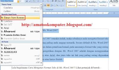 Cara Mengatur Format Teks di Microsof Word 2007 1