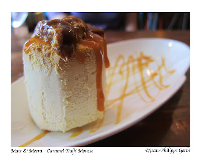 Image of Caramel Kulfi mousse at Matt and Meera Indian restaurant in Hoboken, NJ New Jersey