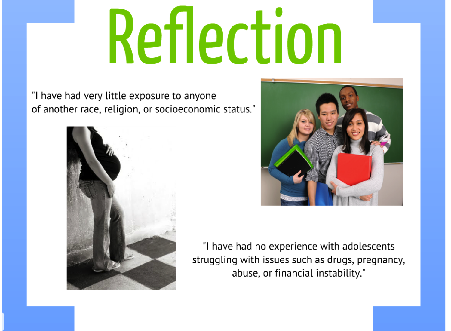reflection on adolescent development Educational psychology / child & adolescent development and learning  reflection for action  you will collect information about the child/adolescent and their.