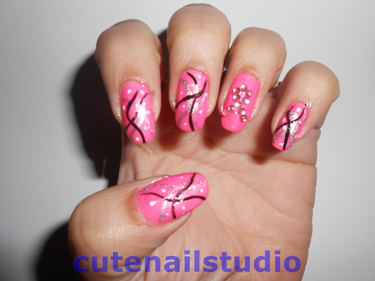 T Cancer Awareness Nail Art