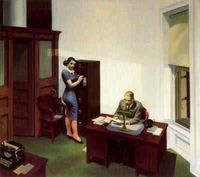 De noche en la oficina. Edward Hopper. 1940