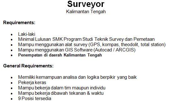 Loker Terbaru Agustus 2012: Surveyor PT Union Sampoerna Triputra Persada
