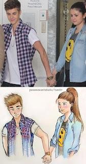 SG fã clube: Selena e Justin desenhados a lápis