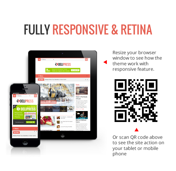 Fully Responsive - Delipress - Magazine and Review WordPress Theme