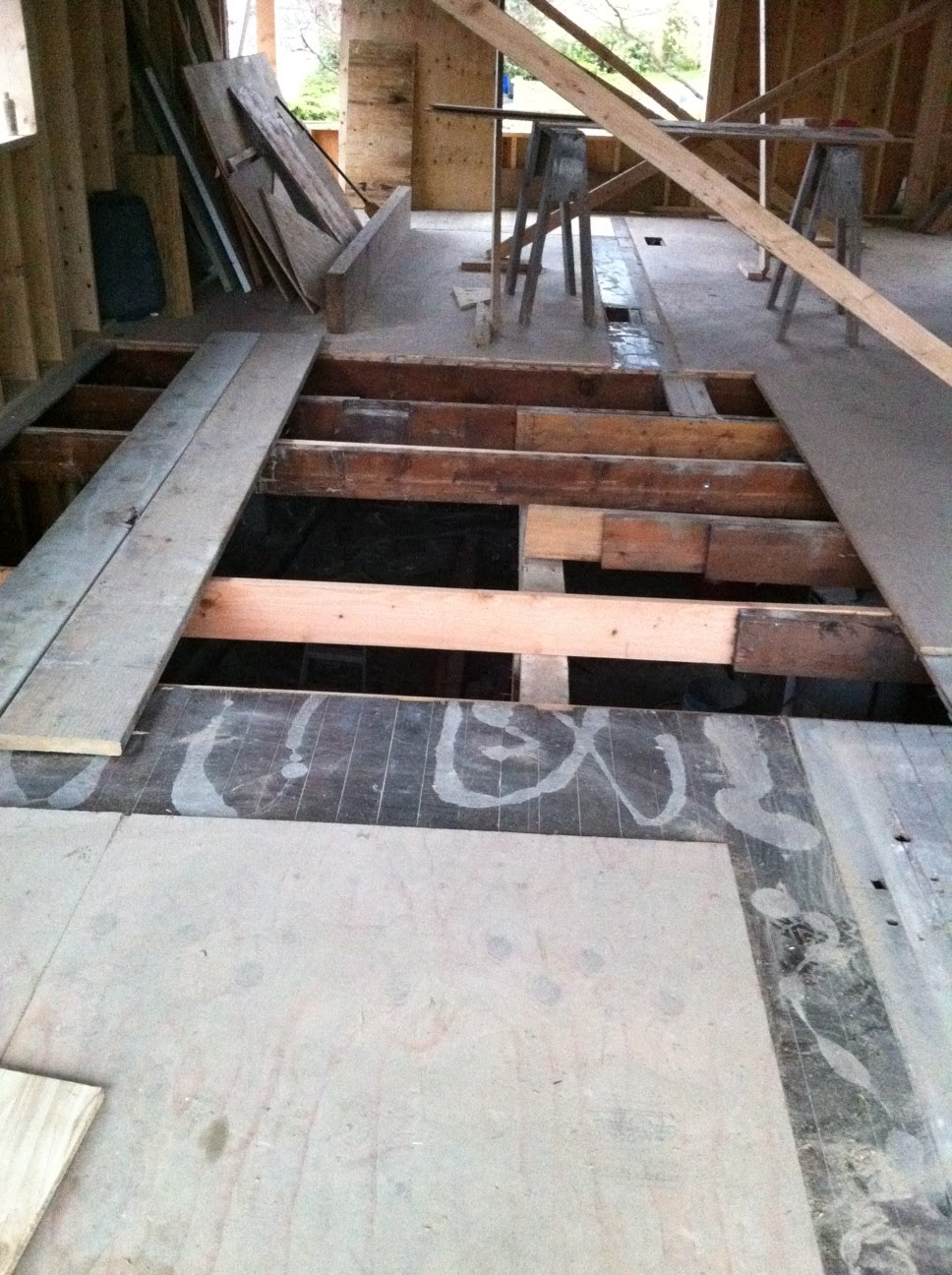 Seattle passive solar home remodel replacing the bathroom - How to replace subfloor in bathroom ...