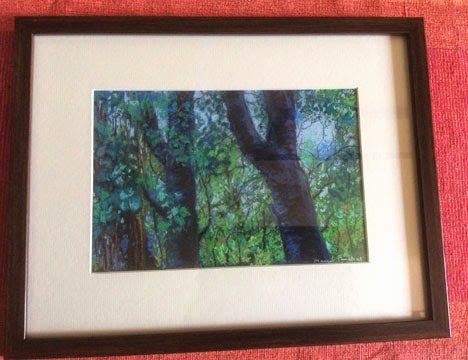Framed soft pastel painting of a landscape by Manju Panchal