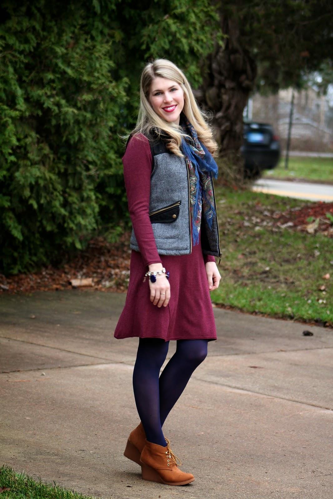 Dress c o tulip boutique vest target scarf souvenir tights