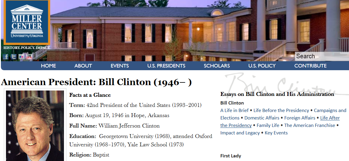 essay on bill clintons presidency Free essay: the name of my president is bill clinton, the 42nd president of the united states of america bill clinton was born on august 19, 1946, in the.
