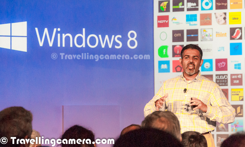 Last night Microsoft launched Windows8 in India and in various parts of the world. Travellingcamera team was also their to witness the launch buzz with some of the known faces from Bollywood including Madira Bedi, Archana Vijaya, Gaurav Kapoor and Roshan Abbas. Let's check out this Photo Journey and know more about this great event !!!I reached late at Oberoi Hotel which is on Zakir Hussain Marg in Delhi. But event had not yet started. People were having some tea/coffee & snacks. I noticed Mandira talking to some of the Microsoft folks out there. Whole space was full of Black suite people and there were hardly few folks in casuals. It was good to see myself dressed up appropriately to stand out in the crowd :). Some of the fellow bloggers were already there in the hall and they shared more details about other faces like Archana Vijaya, Gaurav Kapoor and Roshan Abbas. Around the main conference hall, there were four beautiful stalls for each of them, although I was not sure if something would happen there or not.Gaurav Kapoor had a special stall for young crowd and was sharing some of the cool features of Windows8 which can be interesting or useful for young people. If I mention more clearly, this whole talk was about Metro applications and not not really Windows8. Since Windows8 provides the basic infrastructure for all these Metro Application, idea was to make people aware about new experiences Windows8 can offer. There were curtains around the stall, so some of us were wondering if he is showing some special stuff to selected set of youngsters.Whole evening was quite enjoyable with very well organized things w.r.t. timings, space utilization, mix of fun & knowledge etc.Roshan Abbas talking to Ajay Sood and some of the folks from Microsoft. He was having a stall where he was showcasing Metro applications to increase productivitof a particular business. This one was too crowded with same set of people for a longer period of time, so we simply skipped and clicked this Photograph to at least share that he was also there :)Gaurav Kapoor had great role in the event. He was there on stage for longer period of time with one of the Microsoft person. They were sort of sharing various features of Windows8 in form of a play. Pretty confident personality with great sense of humor. I am sure that lot of efforts must have gone to make this whole show successful. I was amazed to see these bollywood folks responding to Windows8 questions, which shows that they had gone through great training about this Operating System or they were using it for quite some timeArchana Vijaya was there to talk more around her passion - Travel. She was emphasizing on the fact about the possibilities to make life lot easier while travelling with Windows8 enabled devise. Also she was sharing about some of the cool Travel Metro Applications to plan your trips within or outside the country. She sounded most passionate about the things she was sharing with people at Windows8 Launch PartyHe sounded like an avid Traveller, who has travelled to various parts of the world and care much about her travelling plans. We could notice lot of energy around her stall. She was also conducting some Travel QuizesEvent started with brief introduction about Windows8 by Microsoft India Marketing head and then handed over of Windows8 professionals to talk about the their new Operating System in detail.  Microsoft folks presented Windows8 very well in front of audience present and everyone was amazed by the experience. Here I don't to emphasize on technical details of Windows8, so if you can't wait for next post on this blog, just check out following link to know about Windows8 by Microsoft - http://windows.microsoft.com/en-IN/windows-8/meeAfter all presentations, some demoes by Madira Bedi, Archana Vijaya, Gaurav Kapoor and Roshan Abbas ; there was a quick break for drinks & snacks and various performances started to keep the environment alive. Drinks were on during these performancesAt top level, Windows8 looked quite different from all earlier versions of Windows by Microsoft. First view of operating system is quite vibrant with easy to use interface with colorful tiles. Whole venue at Oberoi Hotel had colorful cubes to sit and even drinks had shining colorful cubes. Whole event was ccreatively planned by keeping Windows8 delicacies in minMandira had kitchen kind of setup where she was mainly talking about Metro Appliactions for Cooking & Cricket. Many times she talked about her son and how Windows8 can add lot of value in her own lifestyle. She also shared about some interesting exercise applicationsCharms in Windows8 was another thing which was coming again and again. A short act by Gaurav Kappor and a Microsoft employee tried to explain it in better wayIn Windows8, even the little things are all about you. Like the screen that appears when your PC is locked—it can be any picture you choose. And you will see quick notifications on your lock screen before you sign in to your PC or open a single app. With picture password, you can sign in by tracing a pattern on a picture of your choice instead of typing a password. It's all about mutiple choices you have now.Keep looking this place for detailed information about Windows8 Operating System. This post only talks about the launch event instead of Windows8.