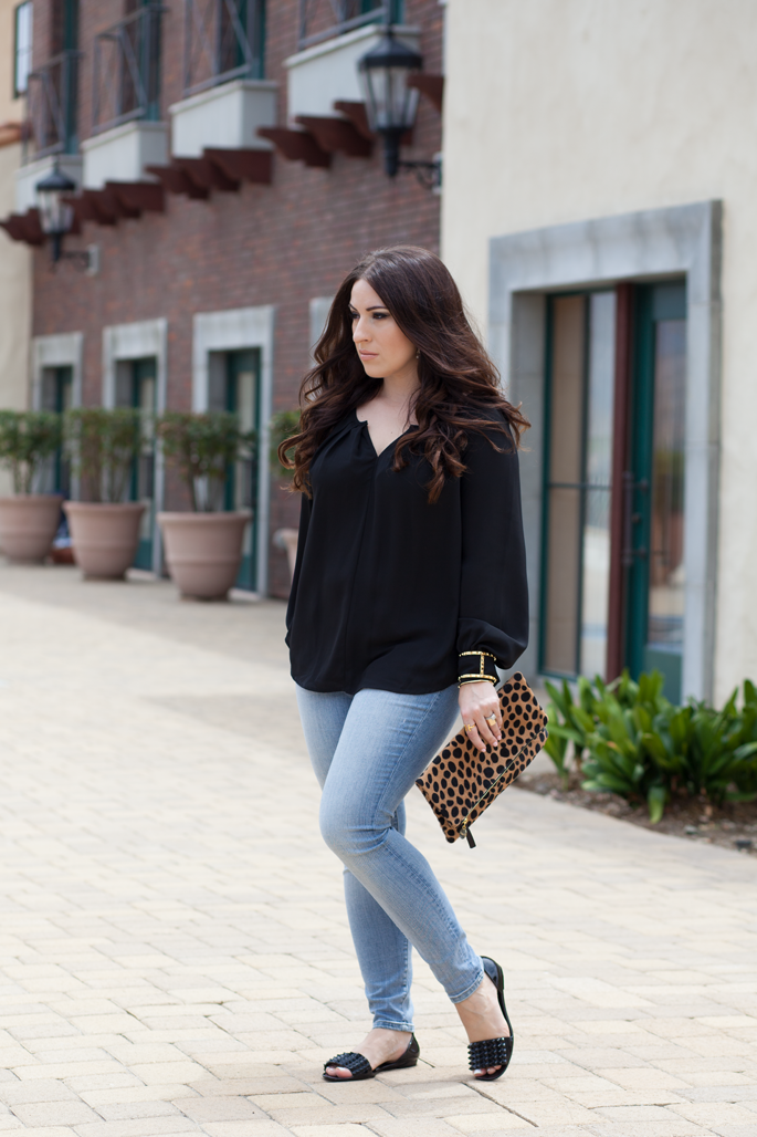loft petite denim, bellatrix blouse, chinese laundry spiked flats