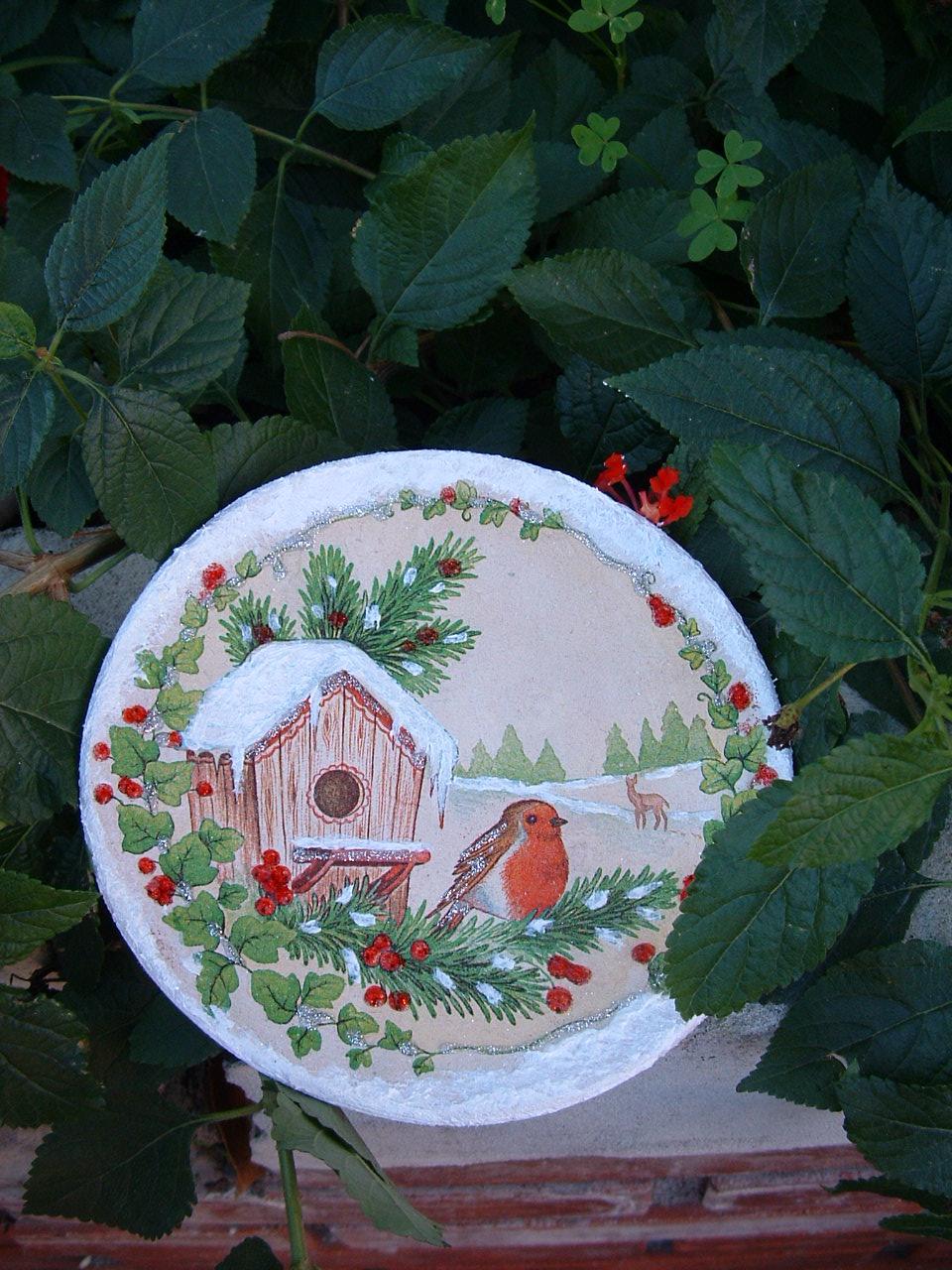 Il bruco idee regalo natalizie decoupage su terracotta Idee regalo