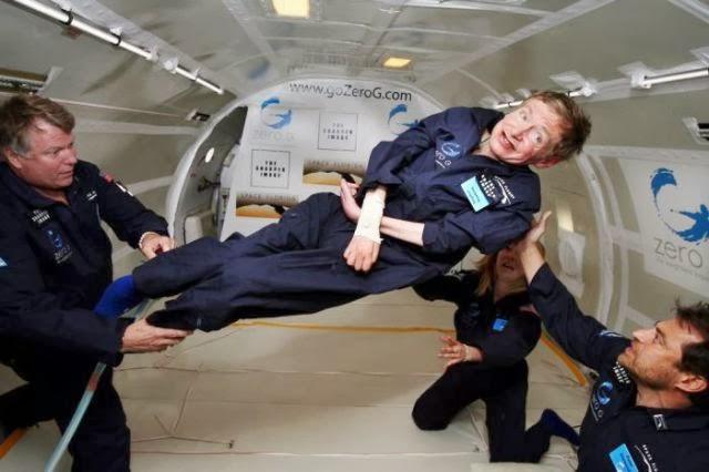 Steven Hawking in the vomit comet