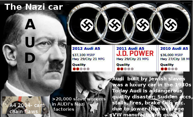 Audi built by Jewish slaves in 1930s - today a quality disaster