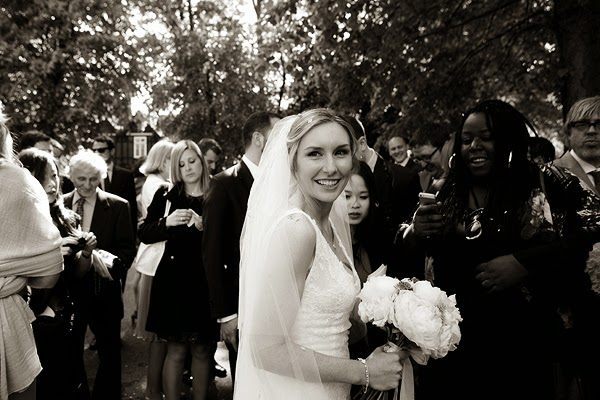 Bride outside London Wedding at All Saints Church in Fulham