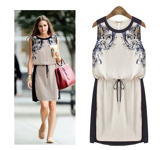 Dress 2014 spring New 2014 Fashion Women Casual flower Summer OL Print Floral vintage Sleeveless Dress baju wanita eropa koleksi baju,Model Baju Wanita Eropa
