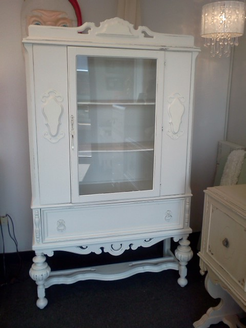Beautiful antique painted and distressed china cabinet with it's original  hand rolled glass. Love this piece. This was actually a donation to a local  high ... - Handpainted Furniture Blog, Shabby Chic Vintage Painted Furniture