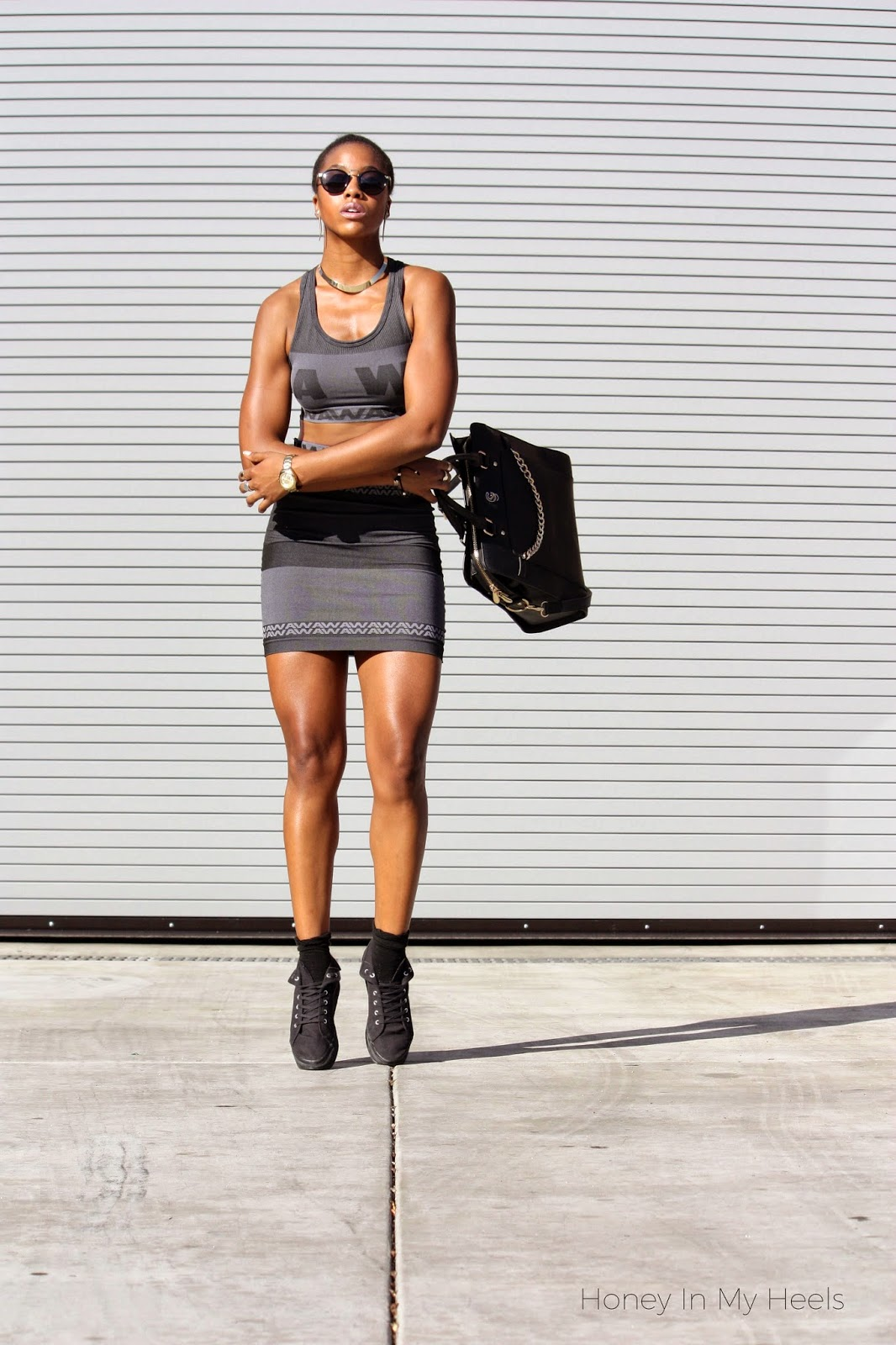 Wearing Alexander Wang x H&M sports bra and pencil skirt with Gregory Sylvia purse